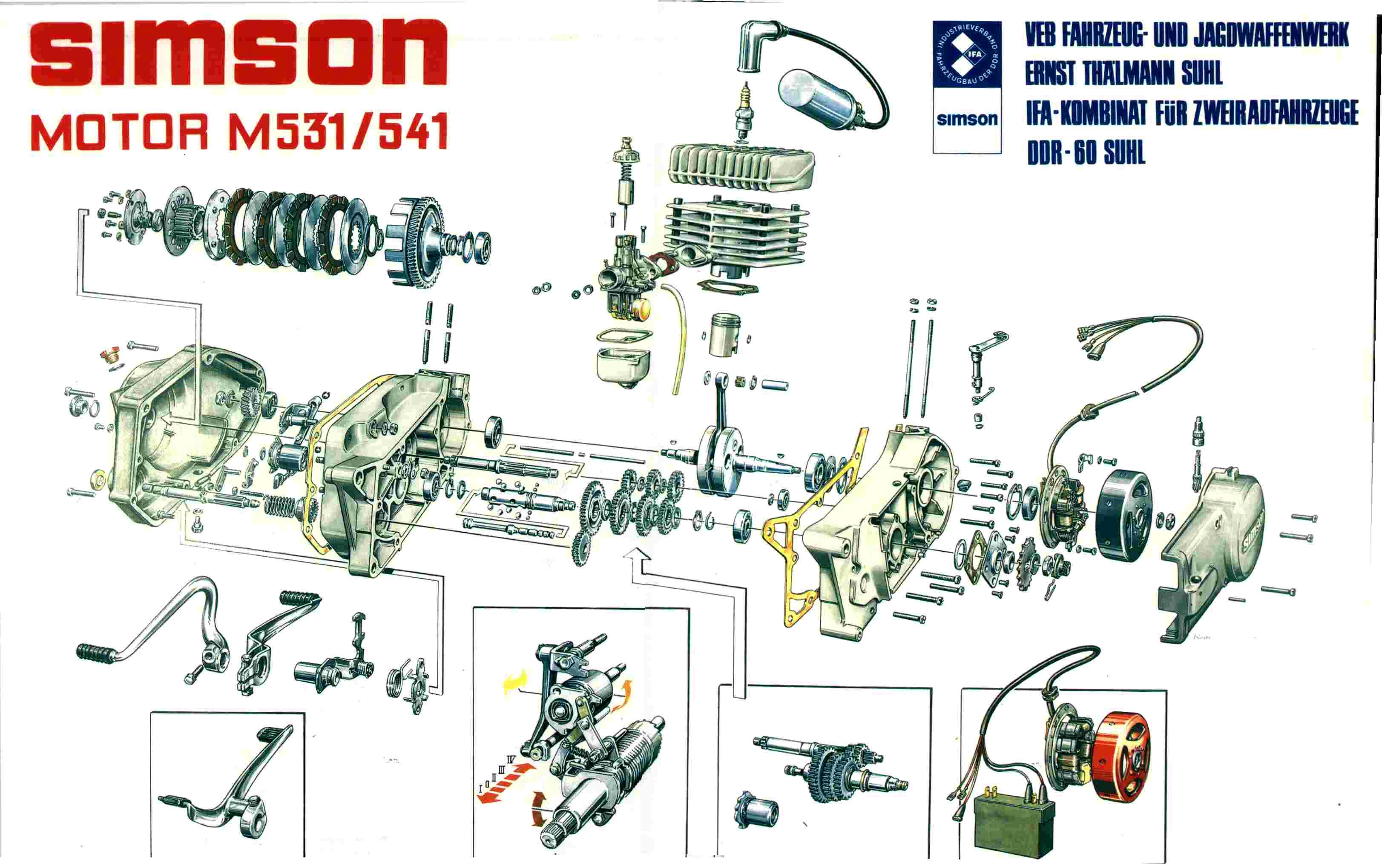 Explosivzeichnung Motor M531/541