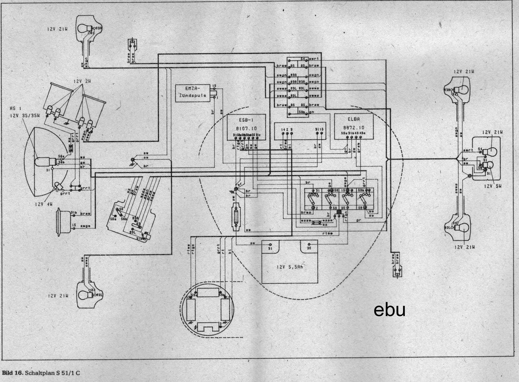 Schaltplan Simson S51 12v - Wiring Diagram