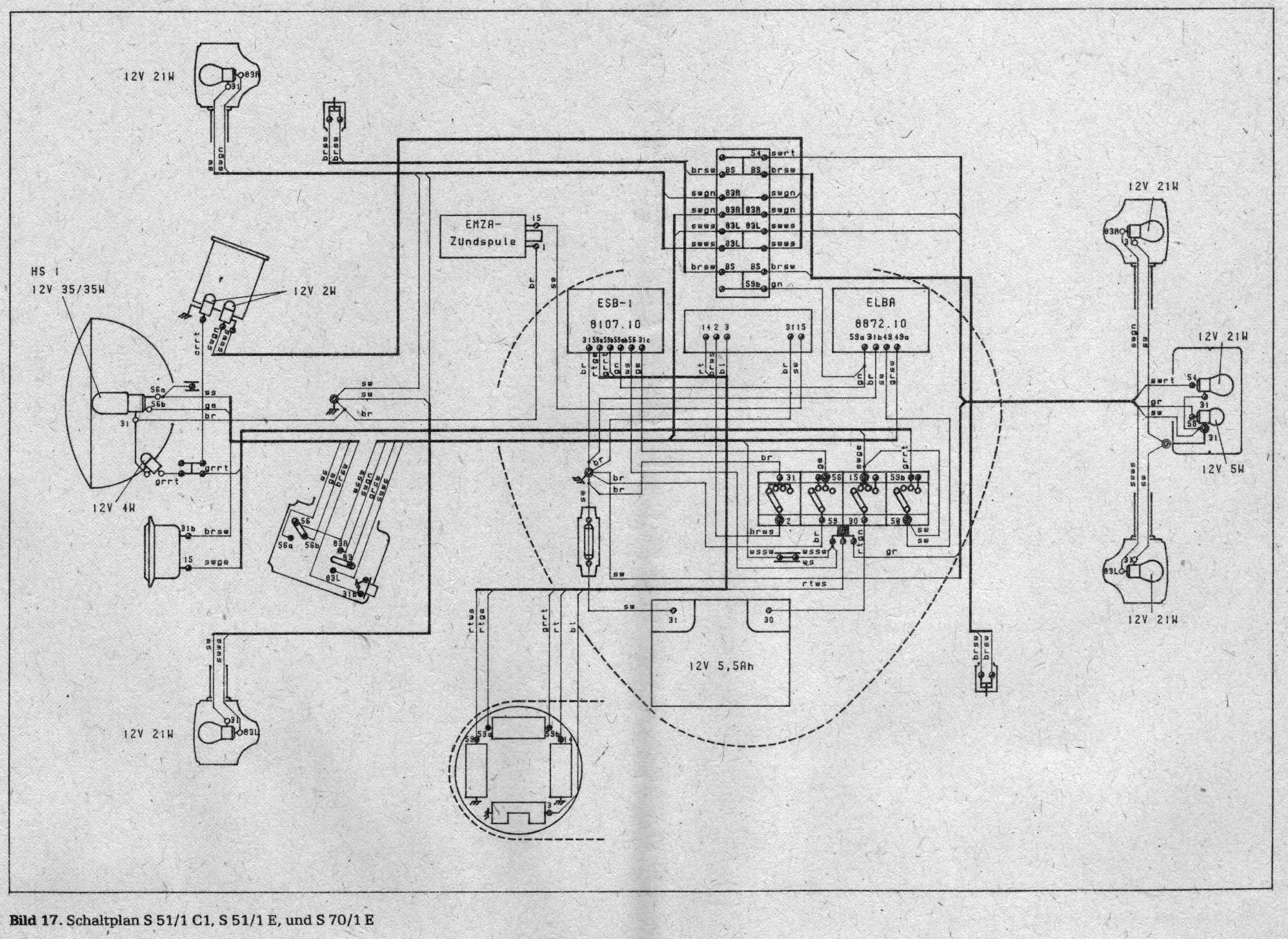 Betriebsanleitung Simson S51/1 und Simson-Leichtkraftrad S70/1